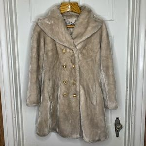 Vintage Faux Fur Double Breasted Car Coat